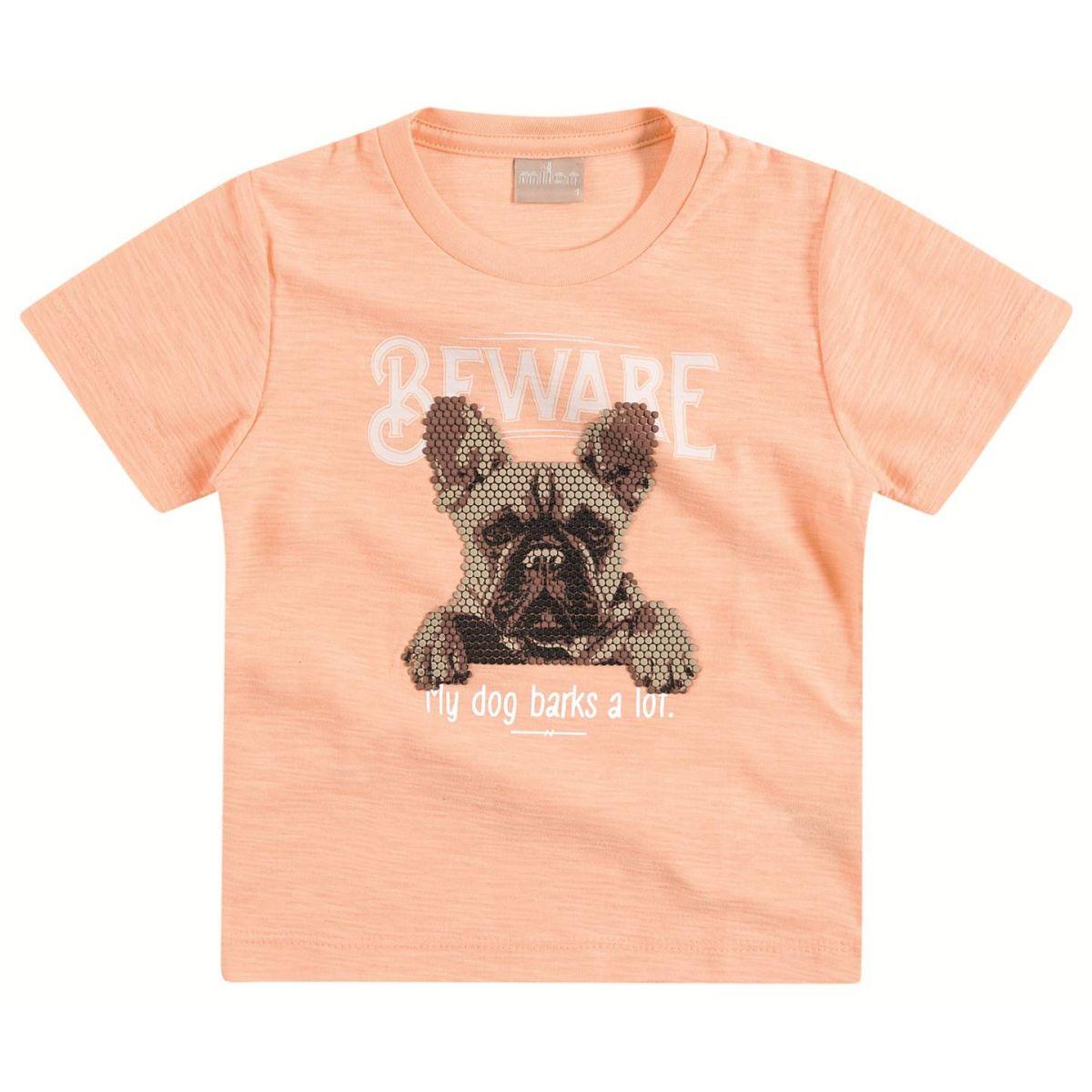 Camiseta Milon Cachorrinho Salmão