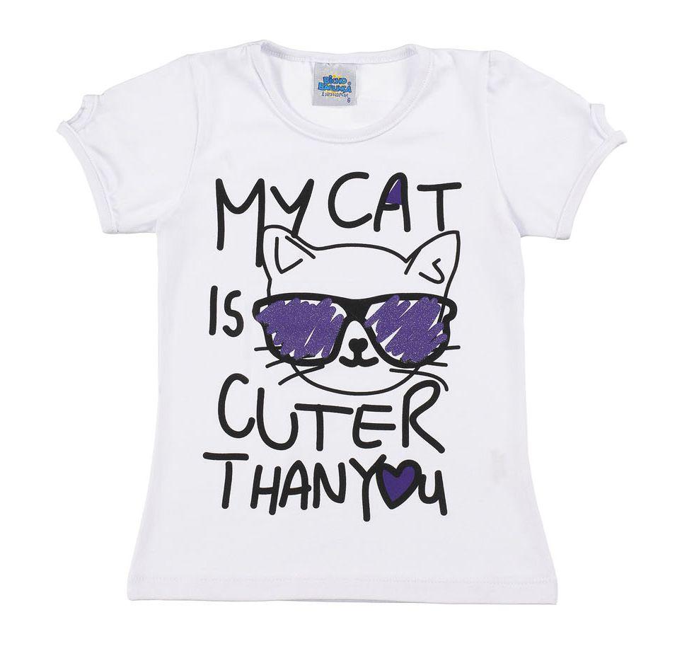 Camiseta My Cat Branca Bicho Bagunça