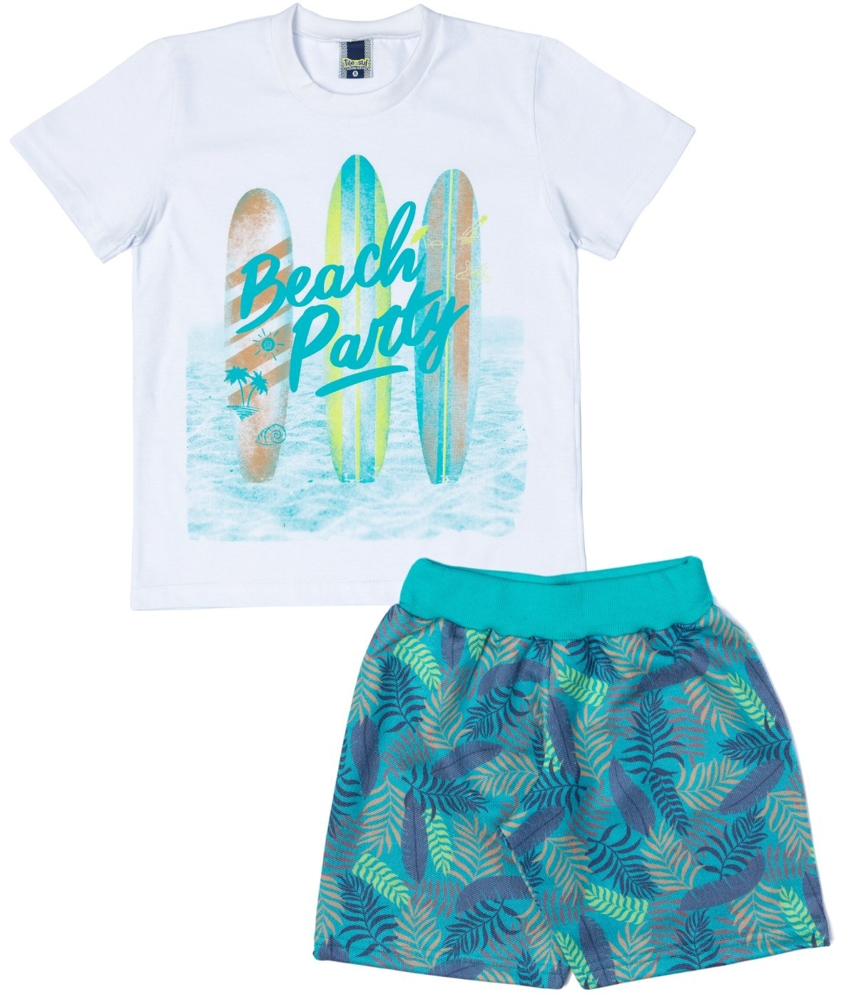 Conjunto Beach Party Menino TileeSul Branco