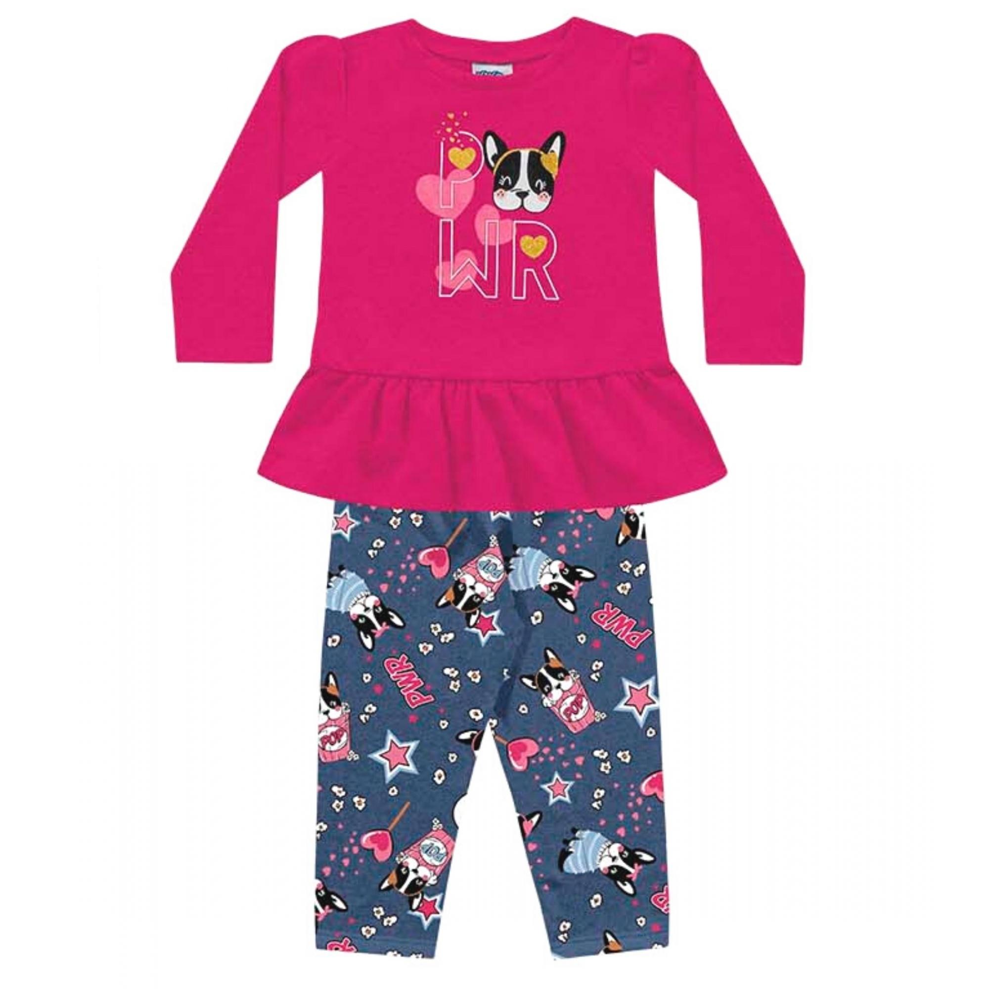 Conjunto Blusa e Legging  em Molecotton Kiko e Kika Pink