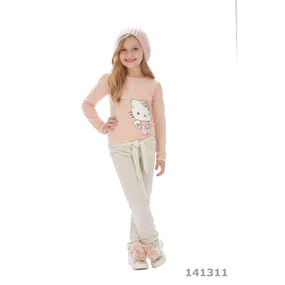 Hello Kitty Conjunto Calça e Blusa Rosa