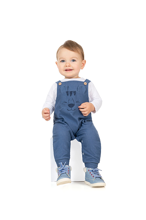 Conjunto Camiseta e Jardineira em Cotton Jeans Branco Tileesul