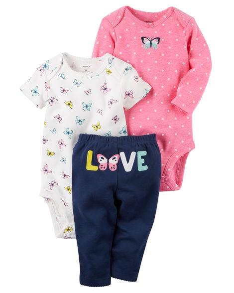 0995b19d3 Conjunto Carters 3 peças Menina LOVE Carter's Roupinhas de Bebê ...