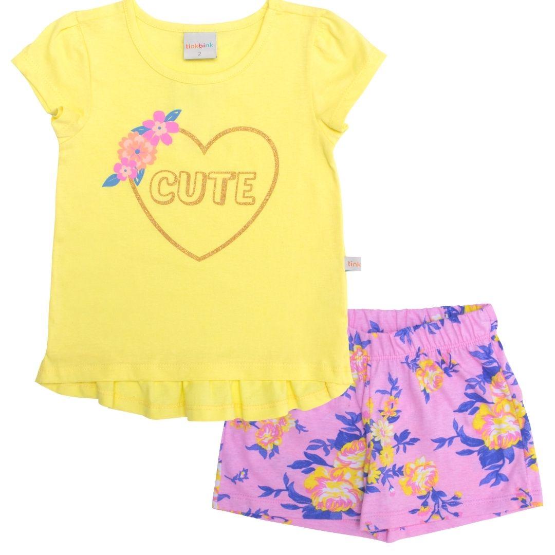 Conjunto Coração Cute Amarelo Tinkbink