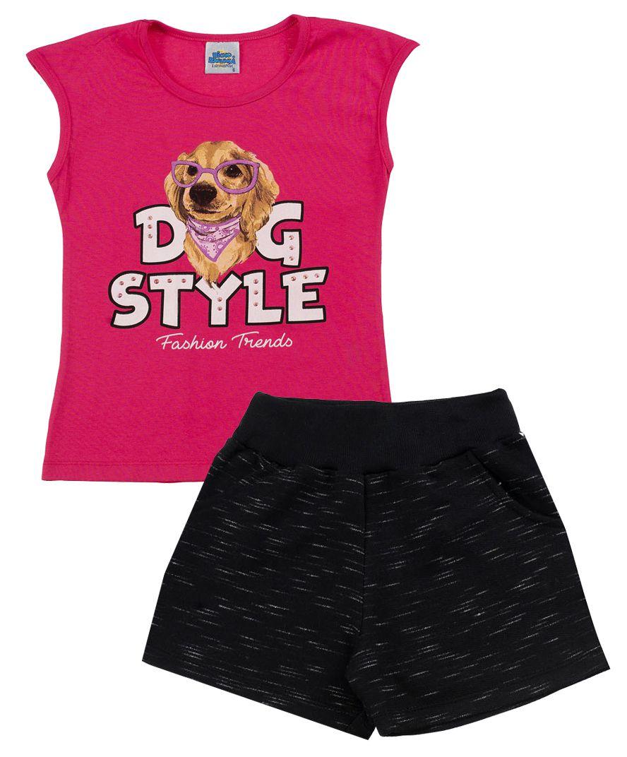 Conjunto Dog Pink Bicho Bagunça