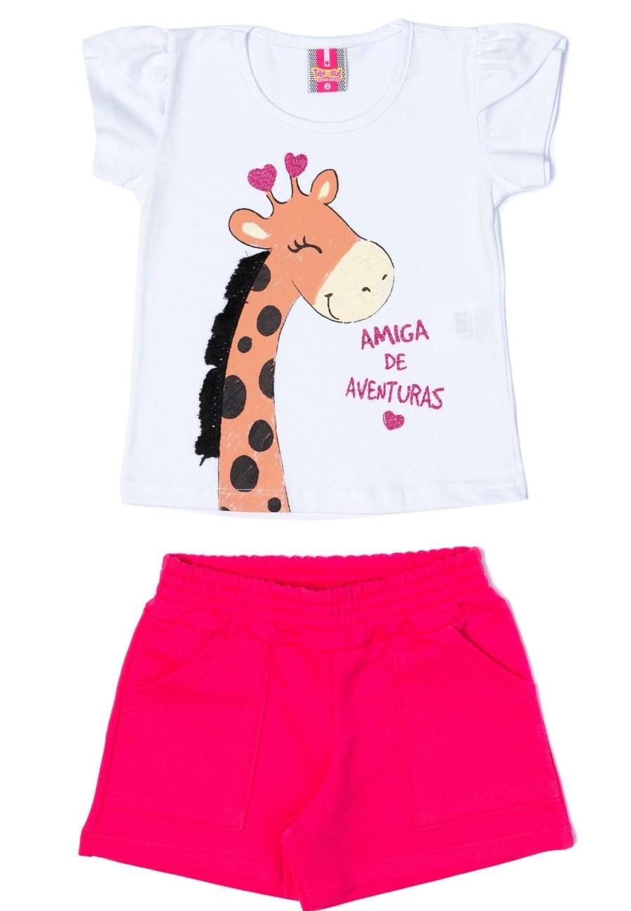 Conjunto Girafa Menina TileeSul Branco