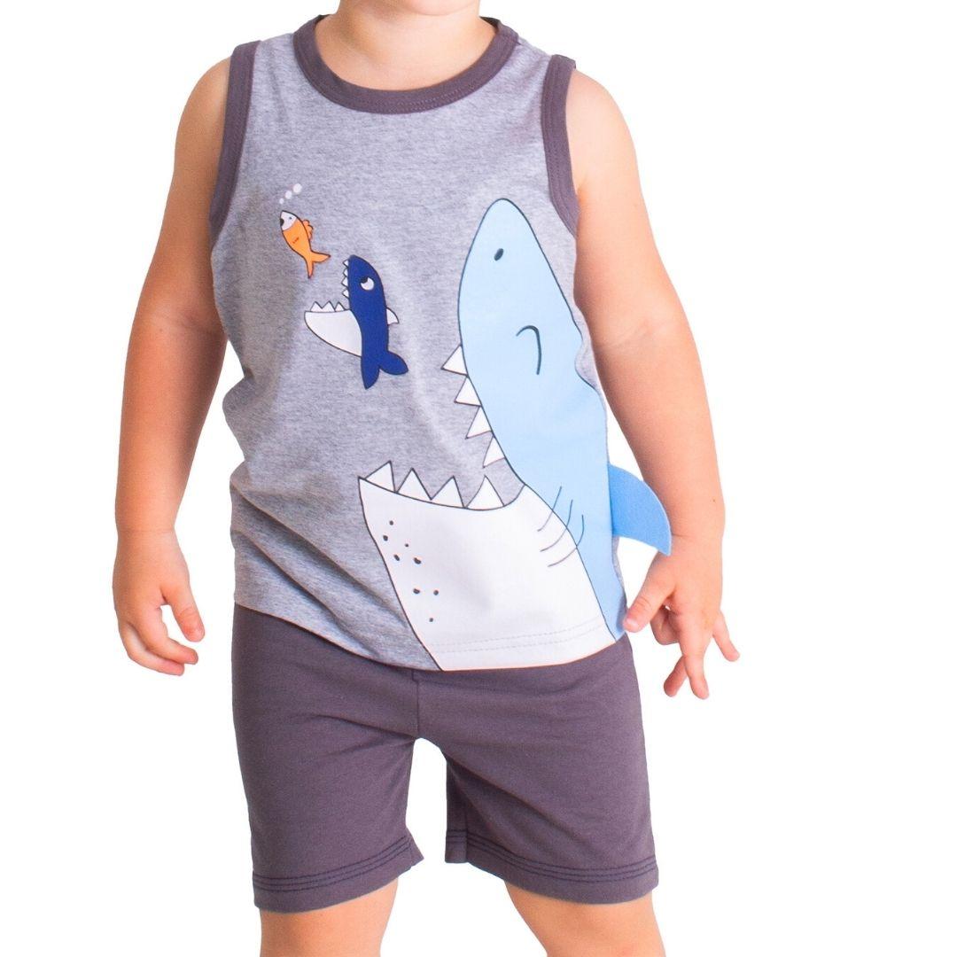 Conjunto Regata Shark Tink Bink Cinza