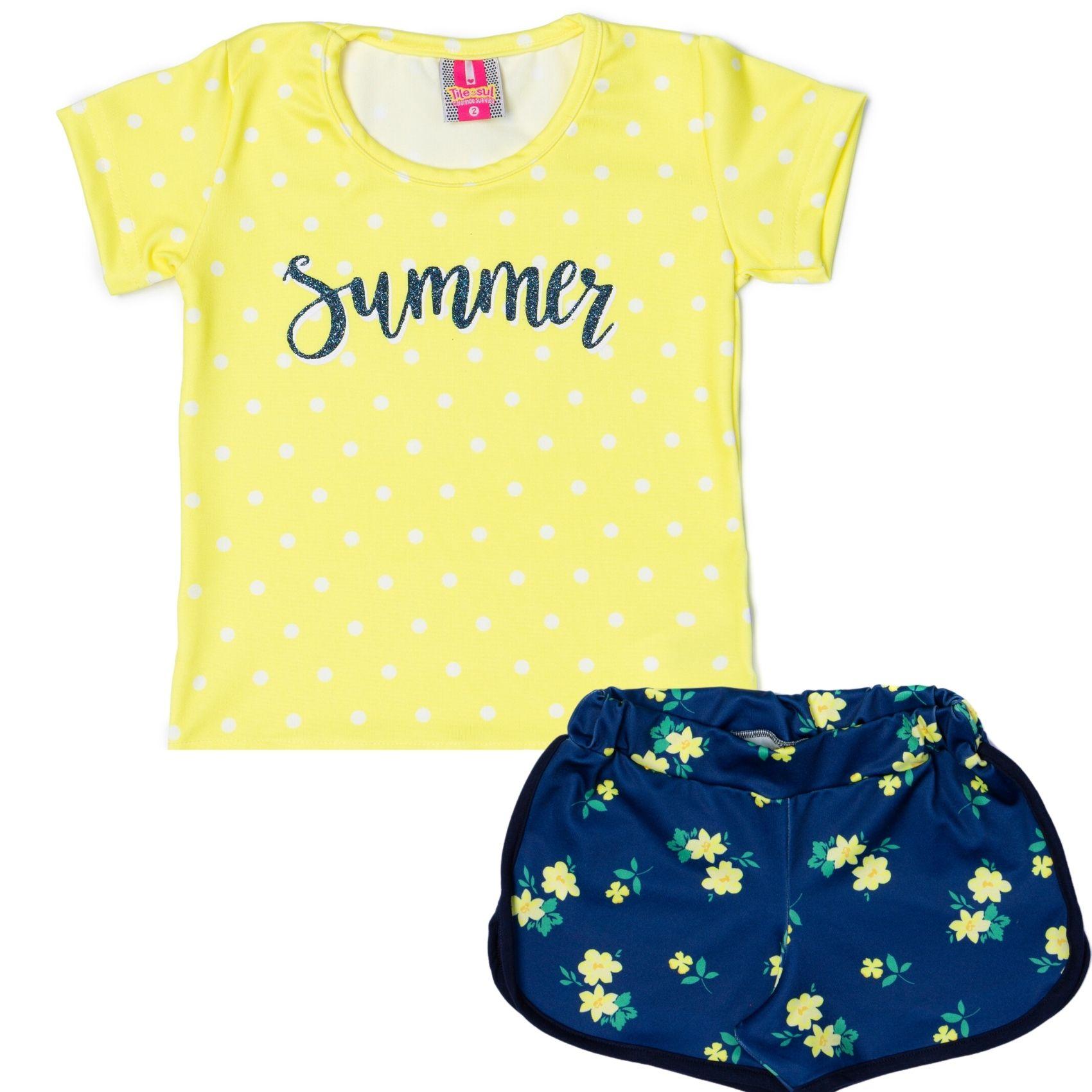 Conjunto Summer Menina TileeSul Amarelo