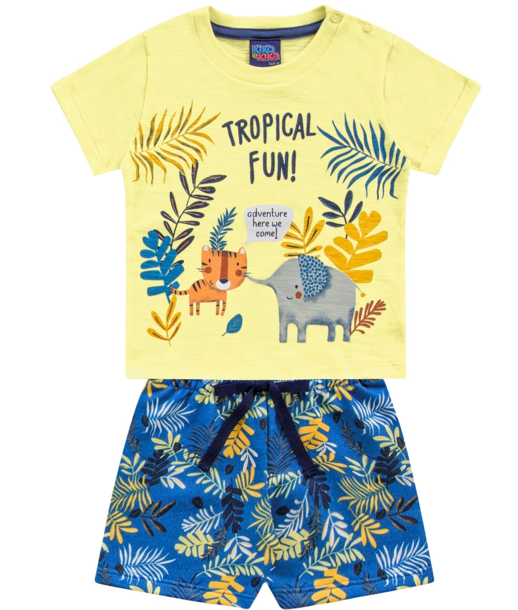 Conjunto Tropical Fun Amarelo Kiko e KIka