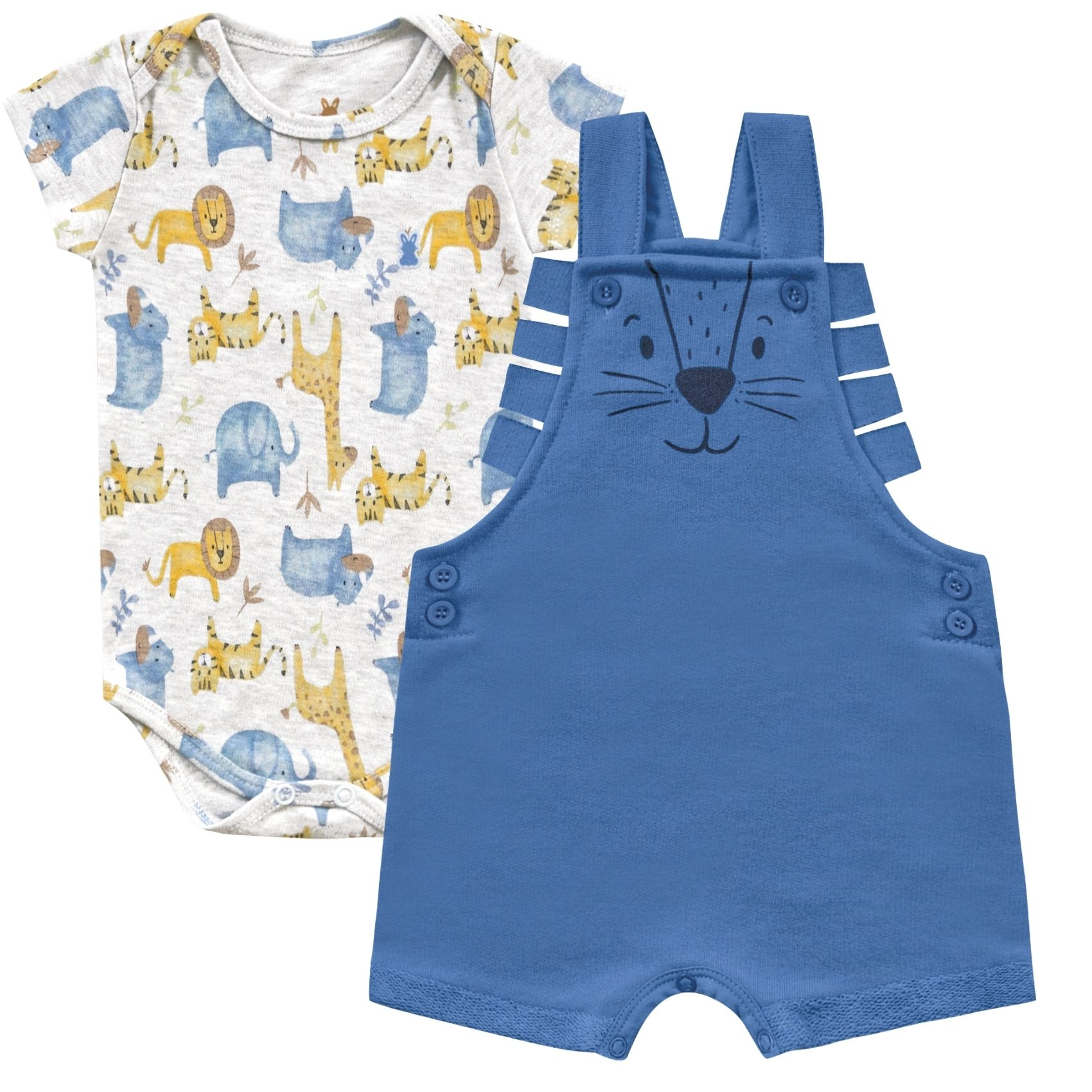 Jardineira e Body Leão Azul Kiko Baby