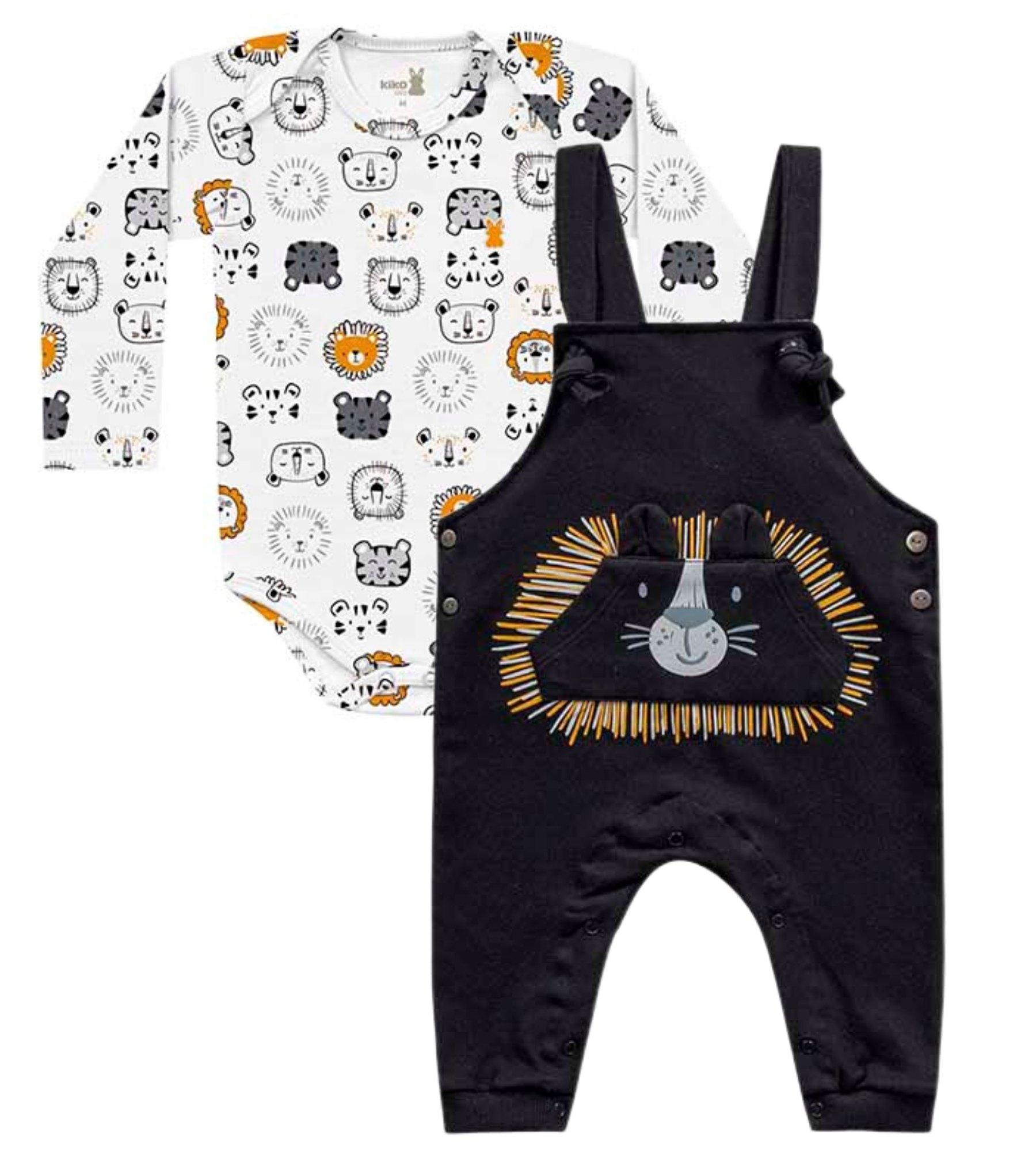 Jardineira e Body Lion Preto Kiko Baby