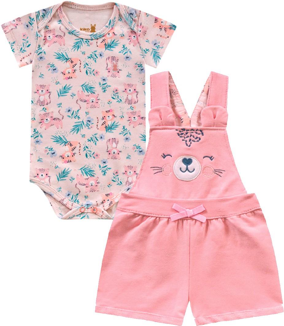 Jardineira e Body Tigre Rosa Kiko Baby