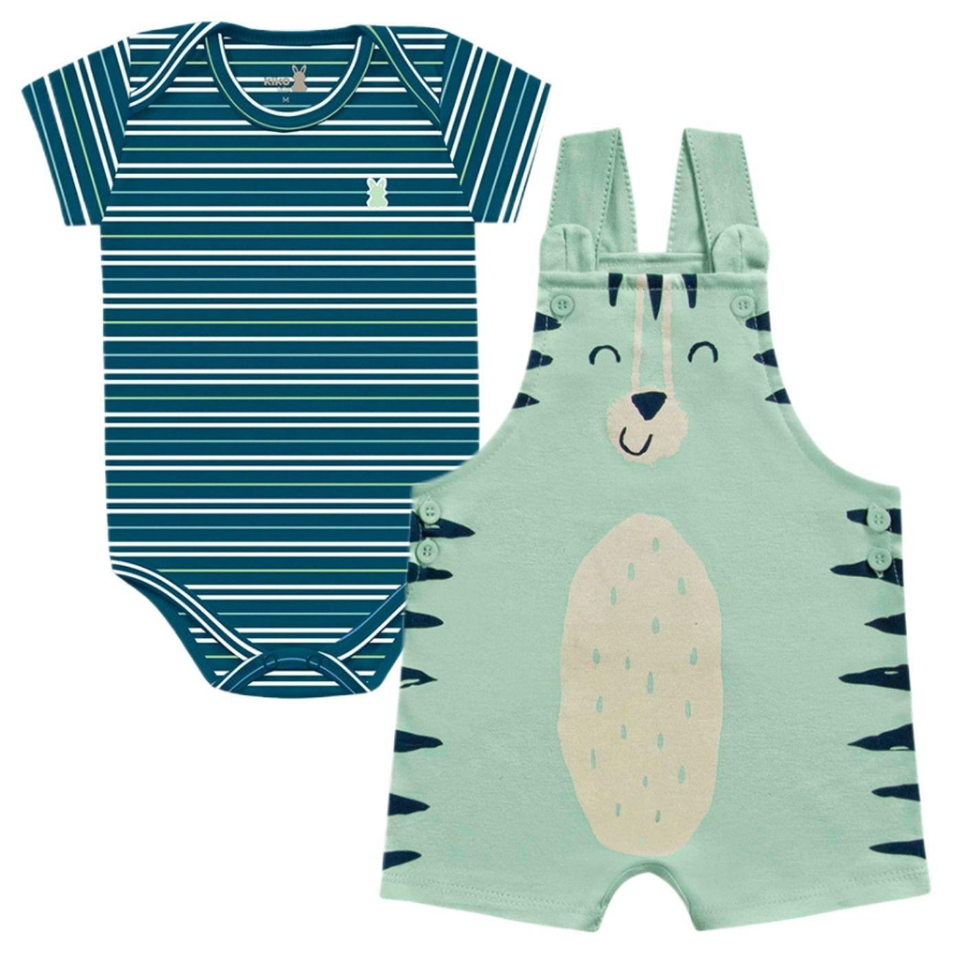Jardineira e Body Tigrinho Verde Kiko Baby