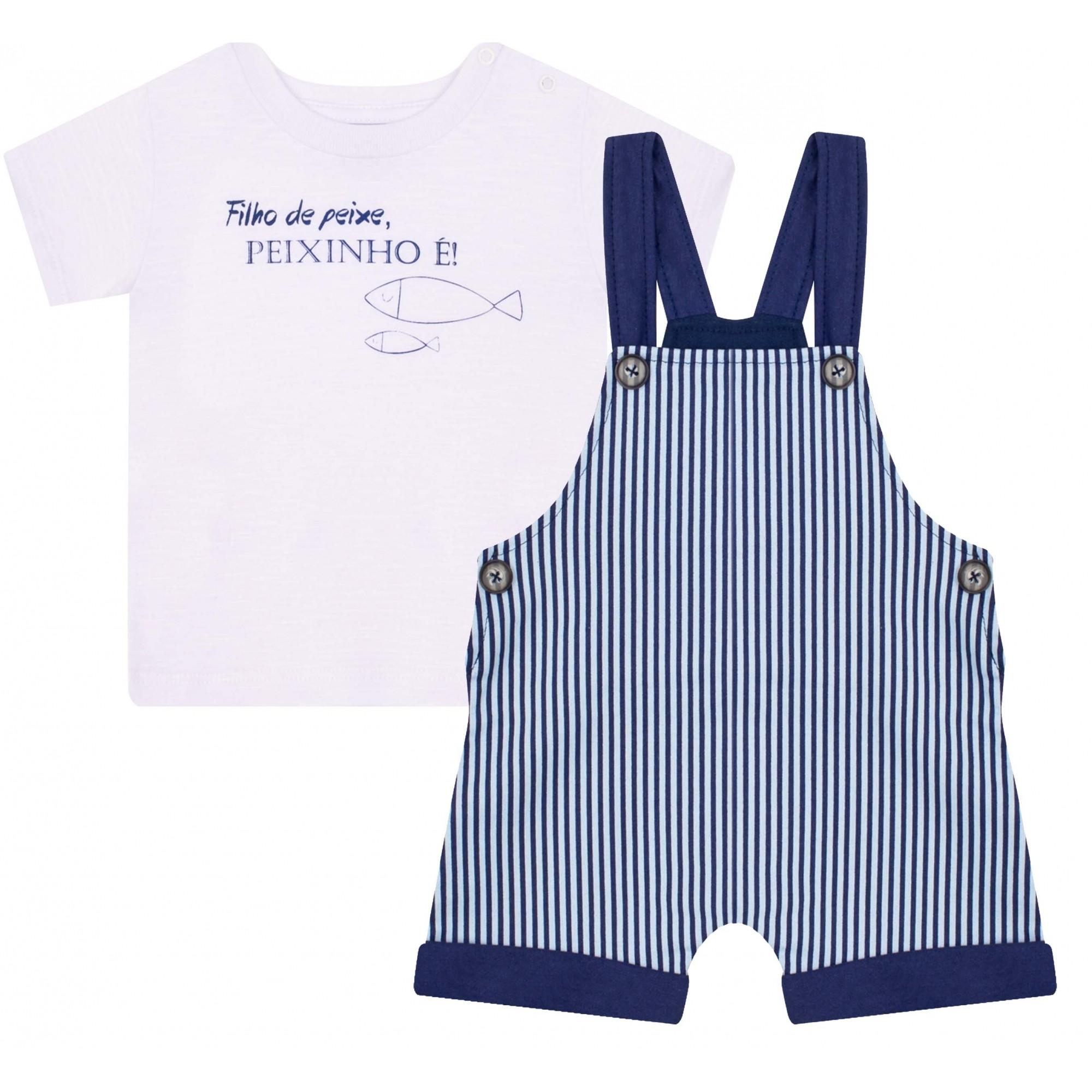 Jardineira e Camiseta Peixinho Marinho Junkes Baby
