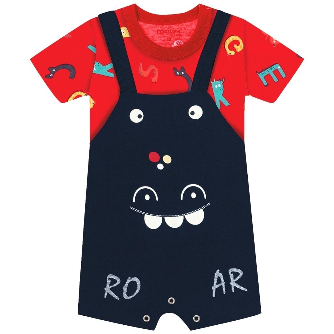 Jardineira Roar Vermelho Rovitex Baby