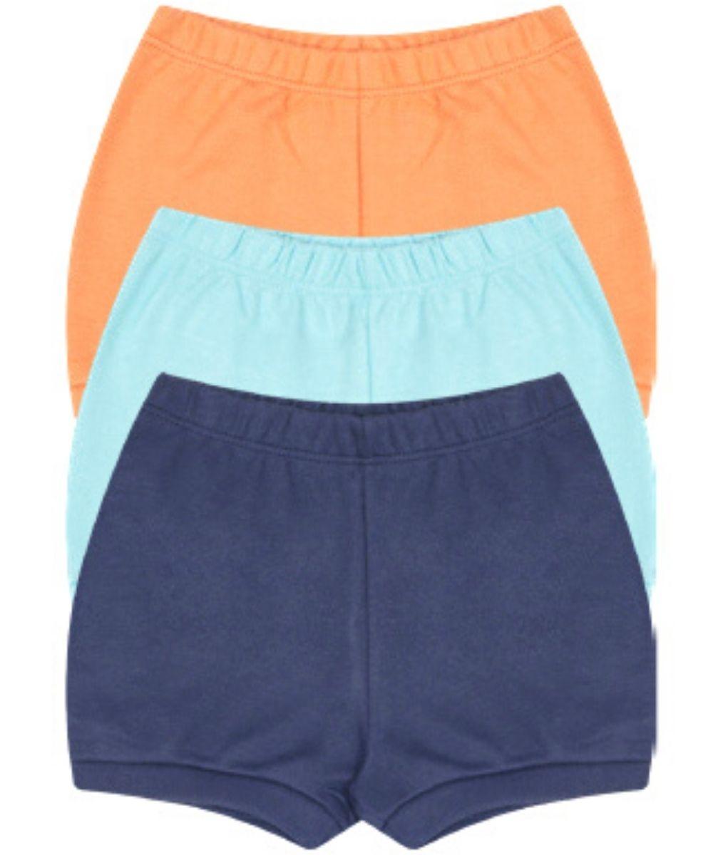 Kit Shorts Kiko Baby Laranja e Azul