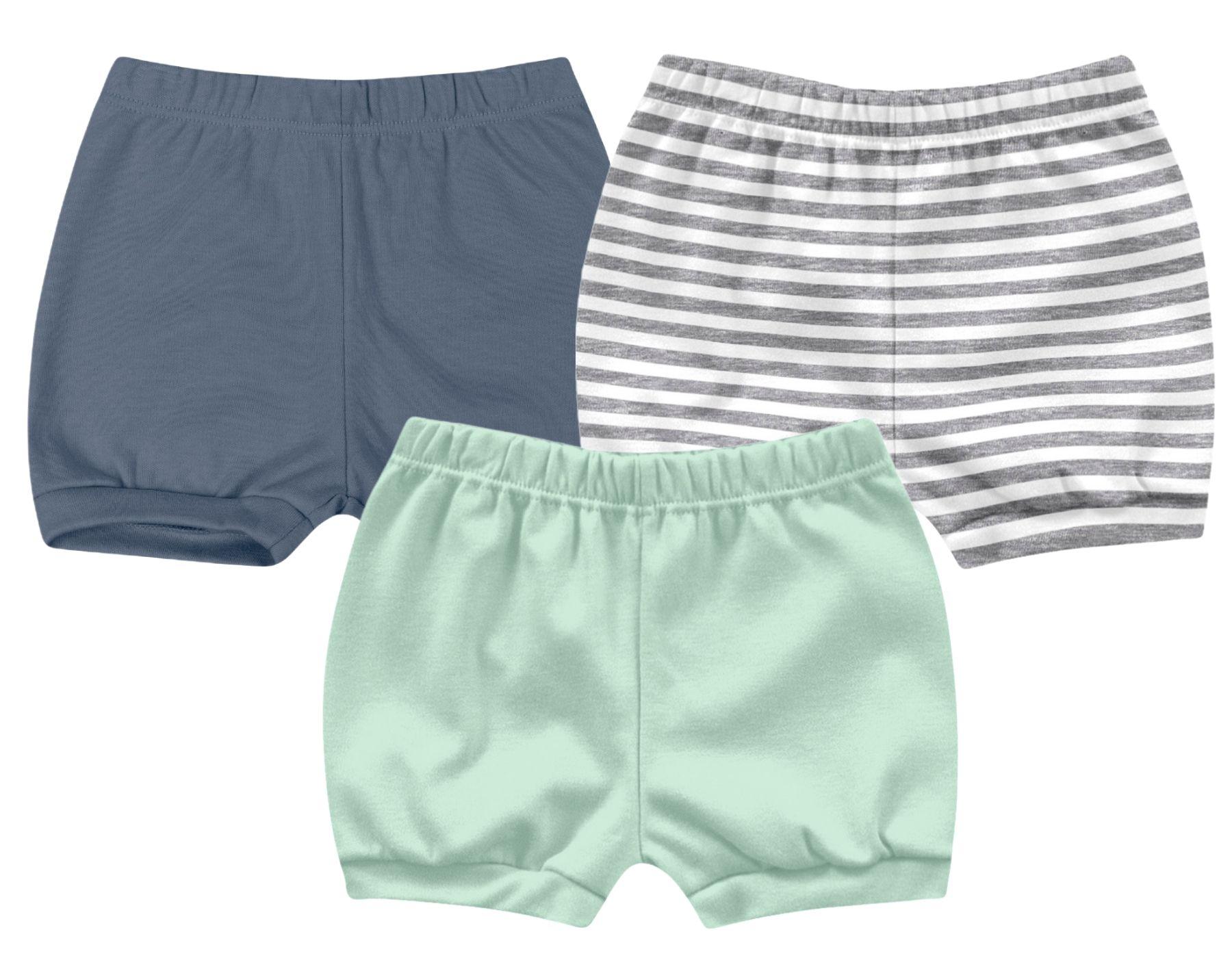 Kit Shorts Listrado e Lisinhos Kiko Baby