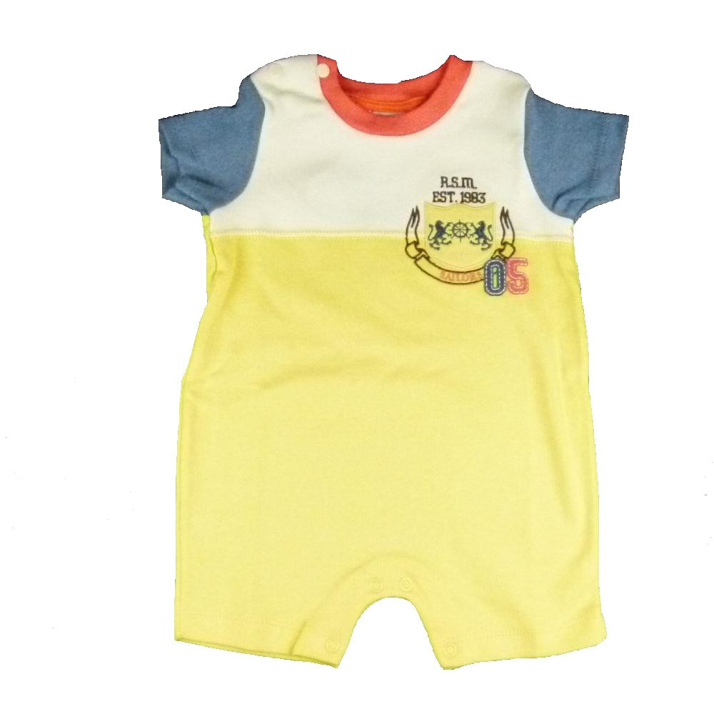 Romper Baby Fashion Bordado Amarelo