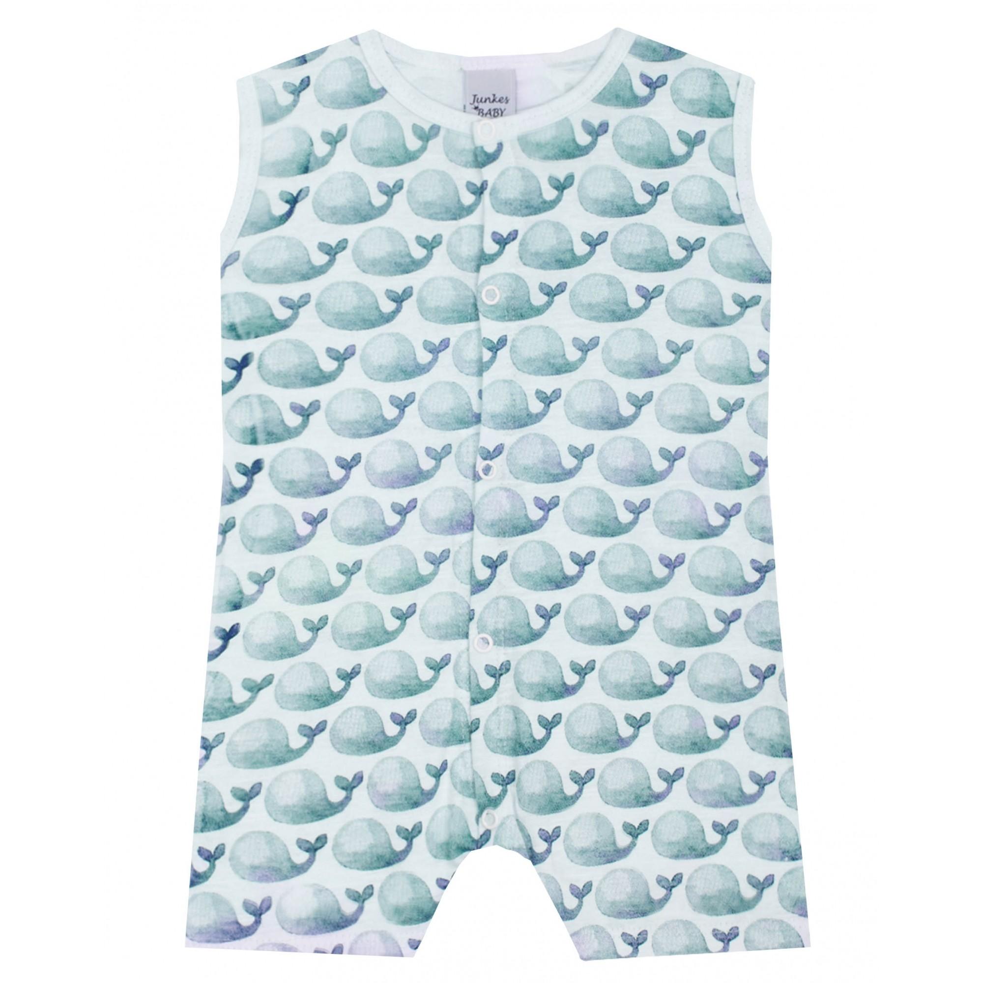 Macacão Baleias Azuis Junkes Baby Romper