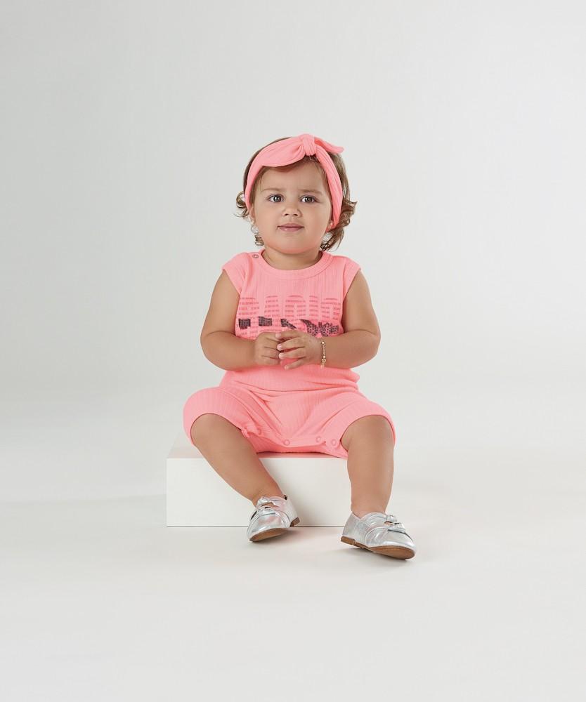 Macacão Basic Rosa Neon Up Baby Romper