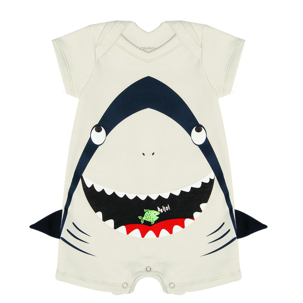 Macacão Bebê Tubarão Off White Rovitex Baby Romper