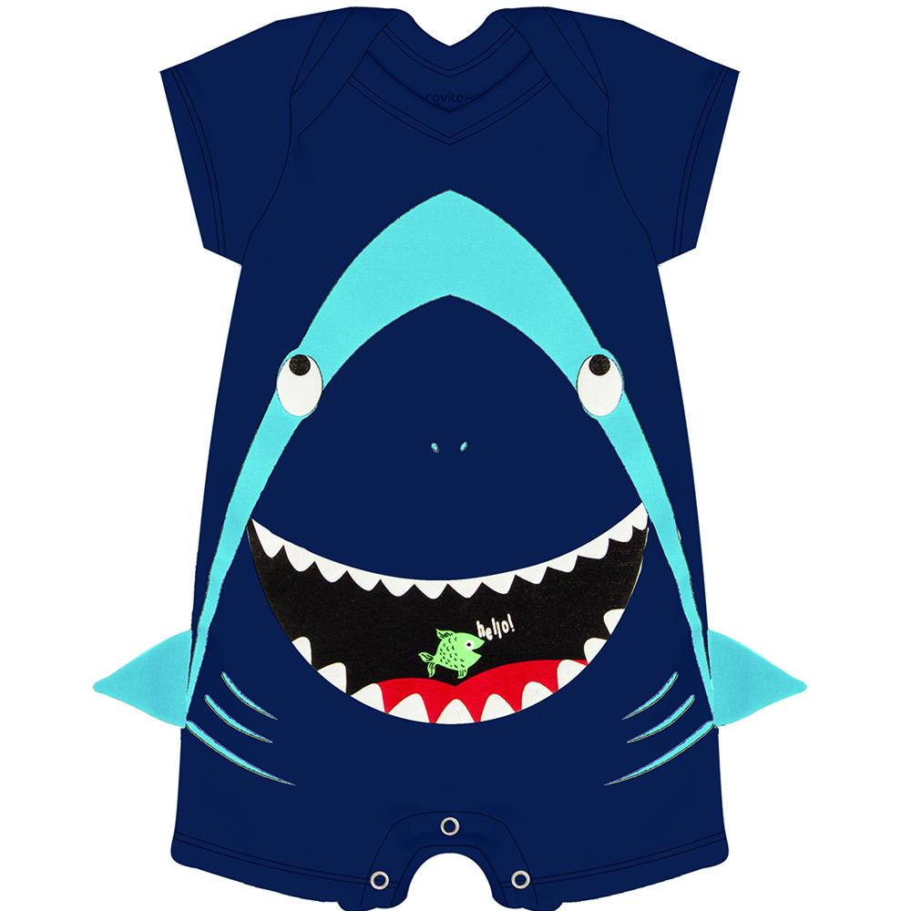Macacão Bebê Tubarão Marinho Rovitex Baby