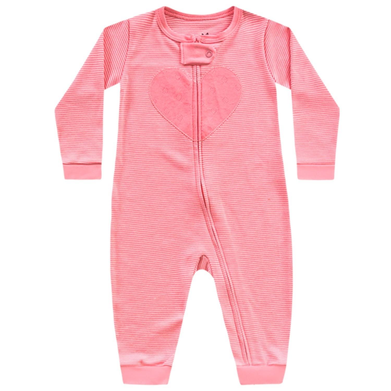 Macacão Coração Rosa Kiko Baby