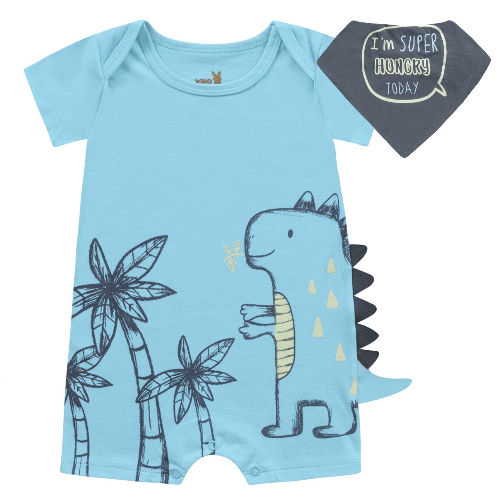 Macacão Dino com Bandana Azul Kiko Baby Romper