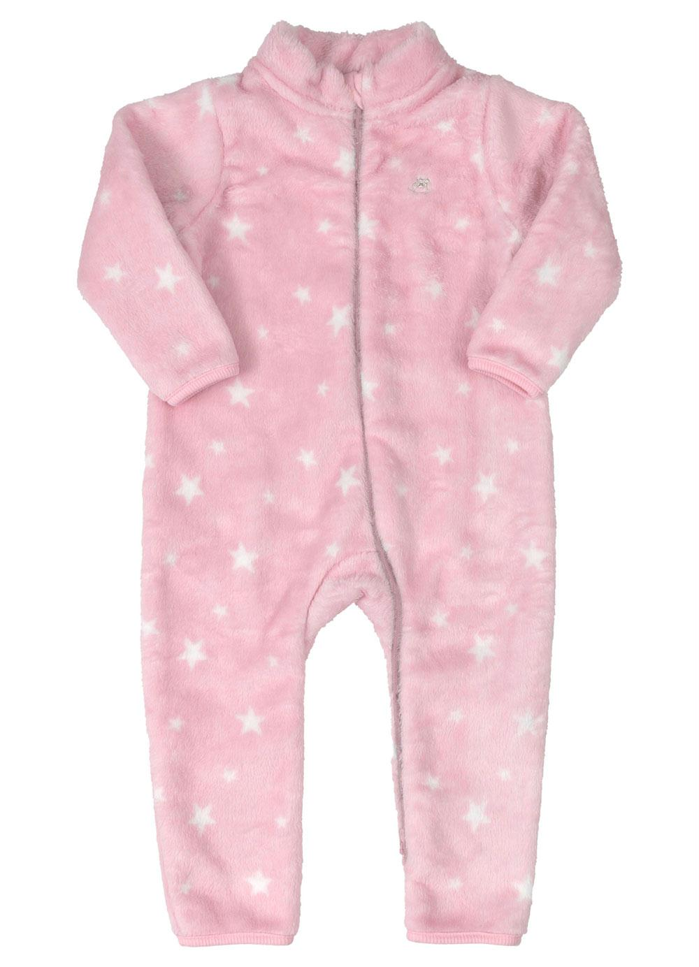 Macacão em Pelo Up Baby Estrela Rosa