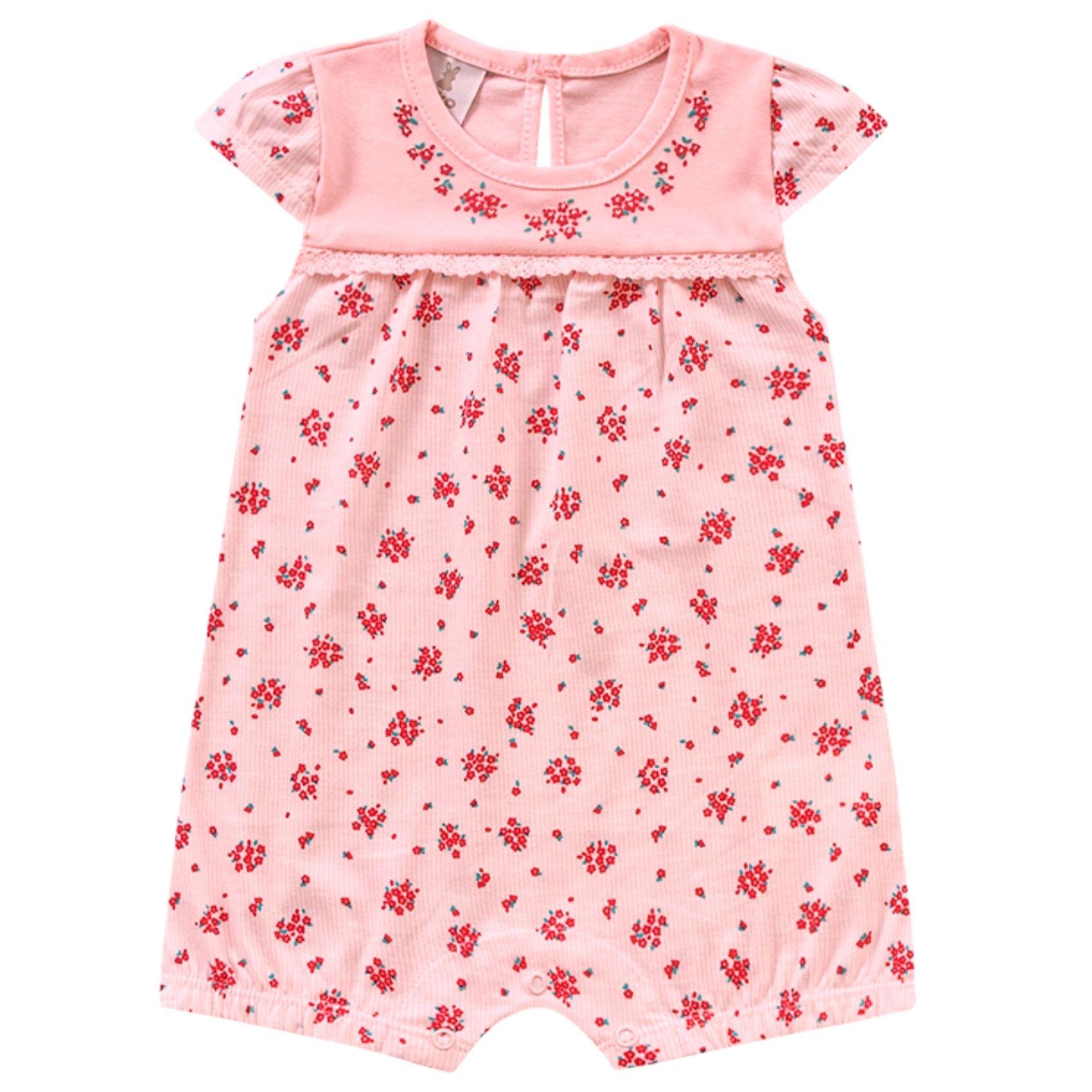 Macacão Floral Rosa Kiko Baby Romper
