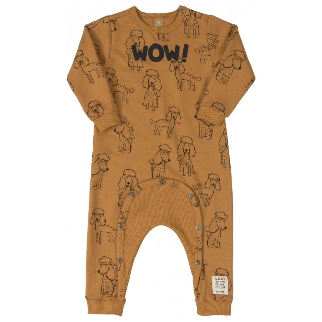 Macacão Infantil Moletom WOW! Up Baby Ferrugem