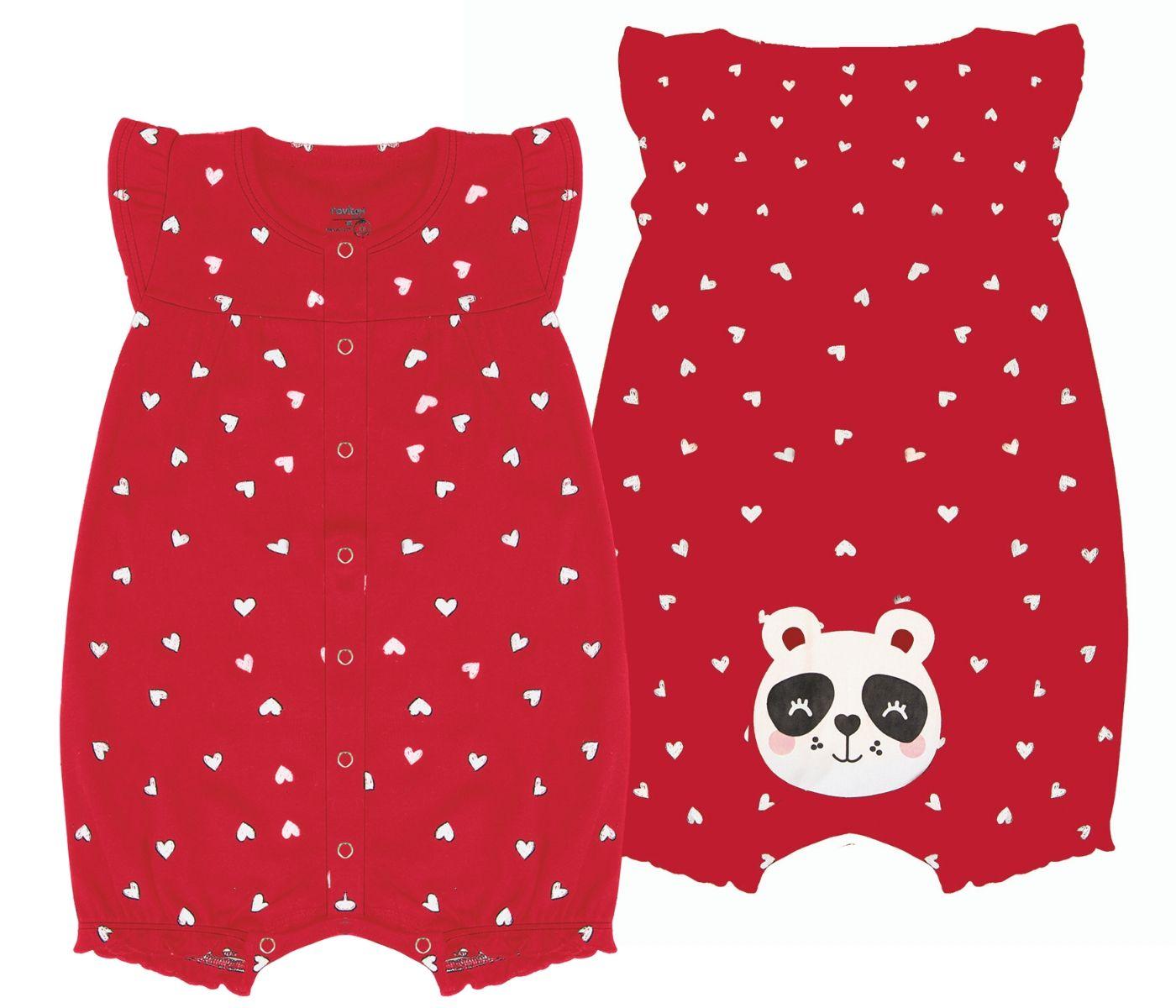 Macacão Panda Vermelho Rovitex Baby