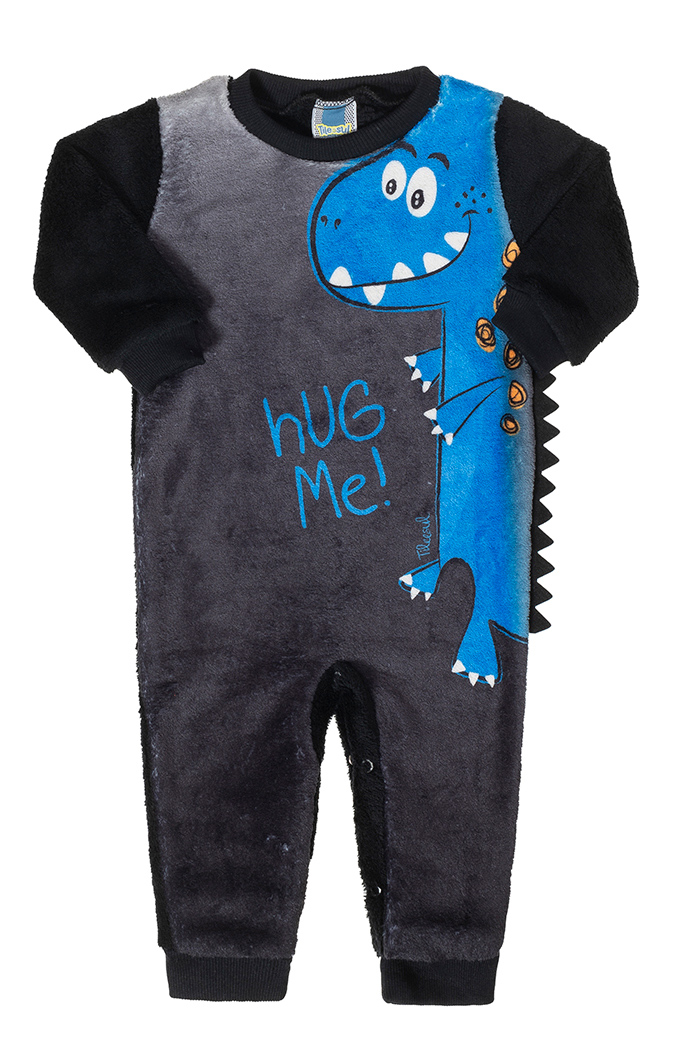 Macacão Peluciado Dino Hug Me Preto Tileesul