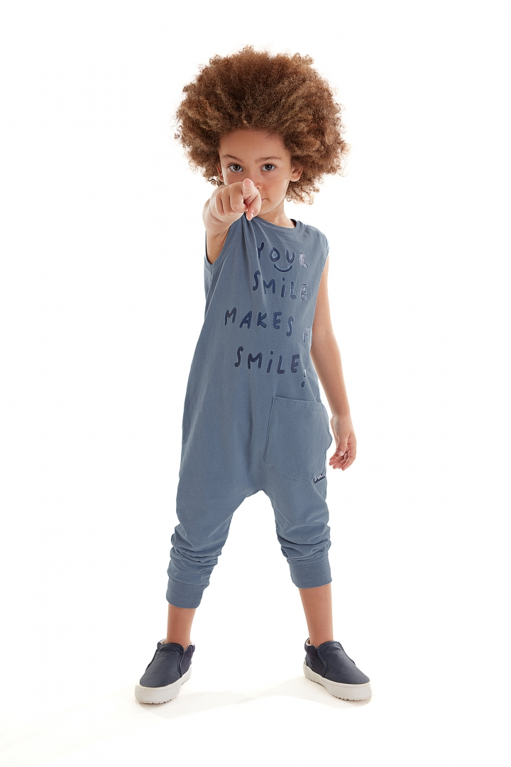 Macacão sem Manga Smile Azul Up Baby
