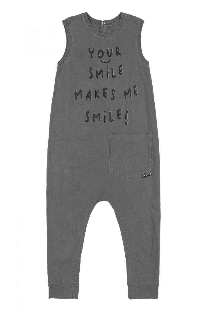 Macacão sem Manga Smile Cinza Up Baby