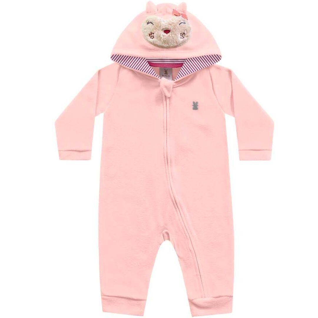 Macacão Soft com Capuz Rosa Kiko Baby