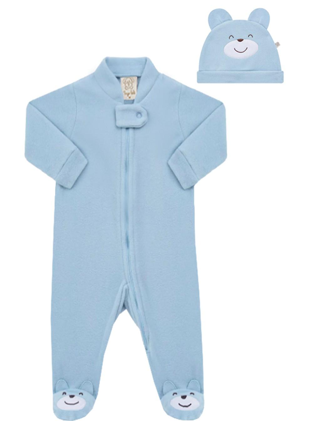 Macacão Soft com Gorro Azul Pingo Lelê