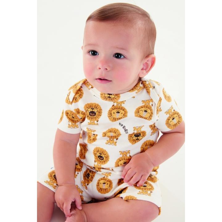 Macacao Suedine Leão Creme Up Baby