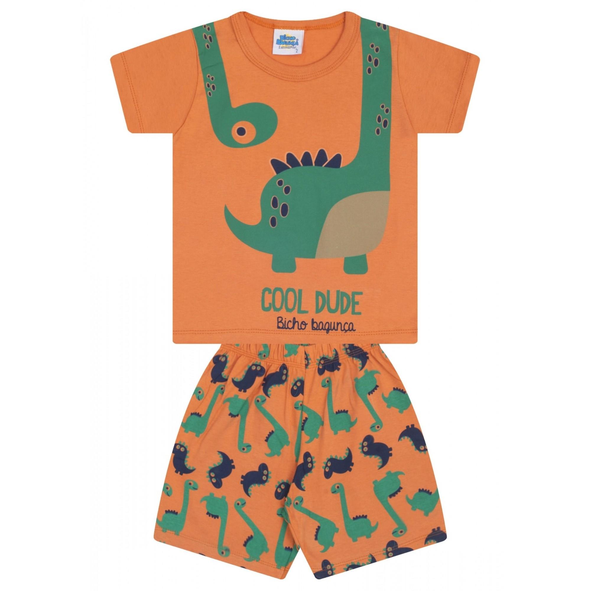 Pijama Cool Dude Bicho Bagunça Laranja