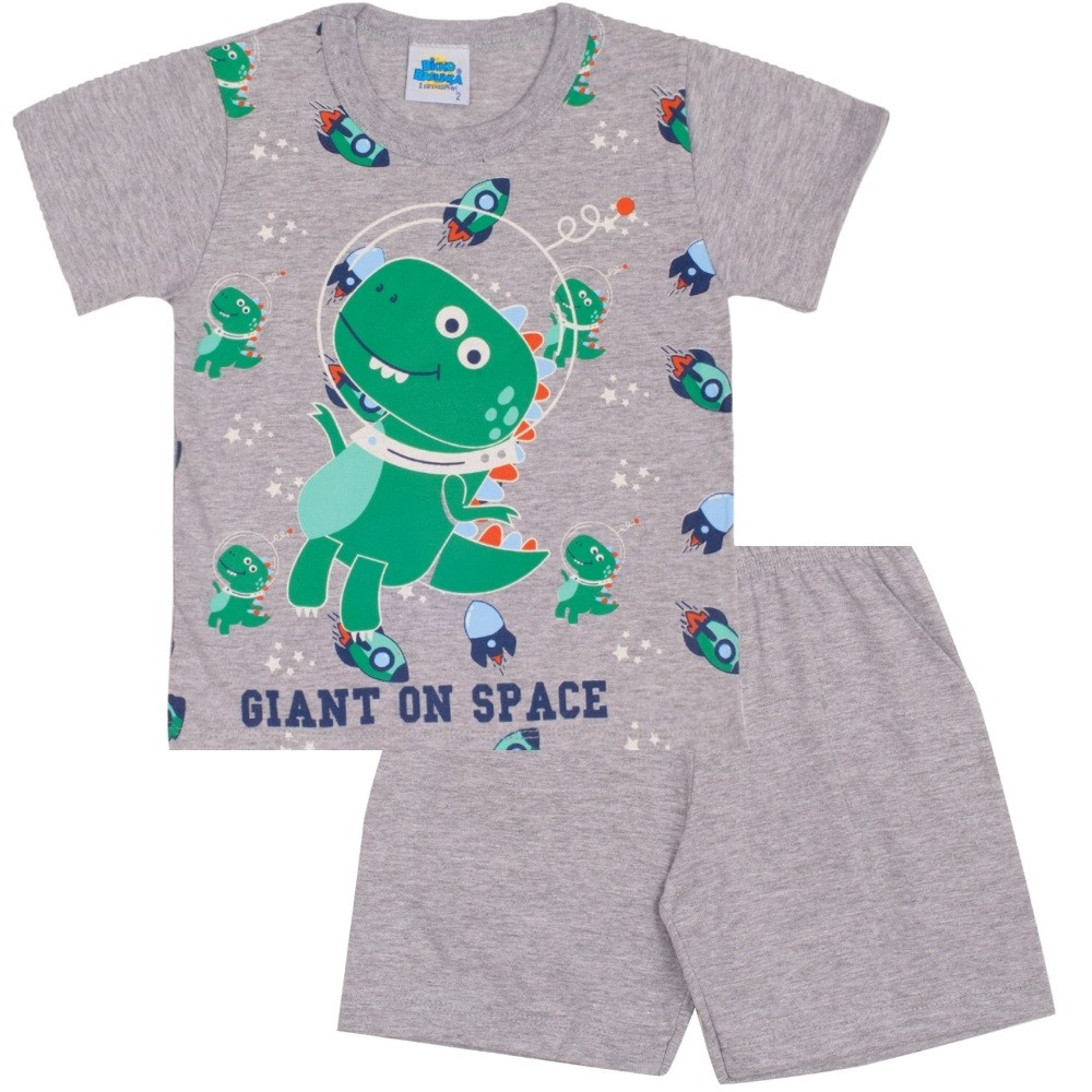 Pijama Dino on Space Bicho Bagunça Cinza