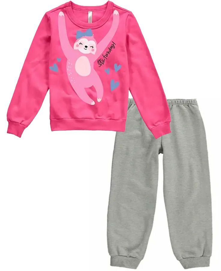 Pijama Flanelado Malwee Liberta Preguiça Pink