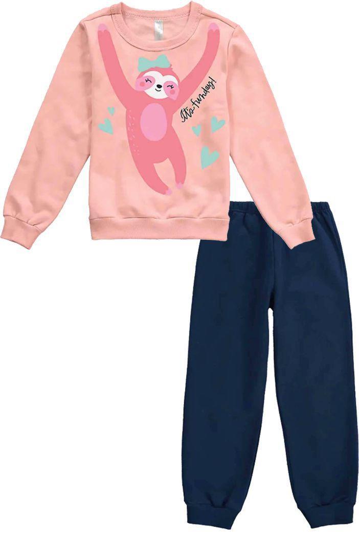 Pijama Flanelado Malwee Liberta Preguiça Rosa