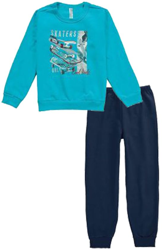 Pijama Flanelado Malwee  Skaters Azul Turquesa