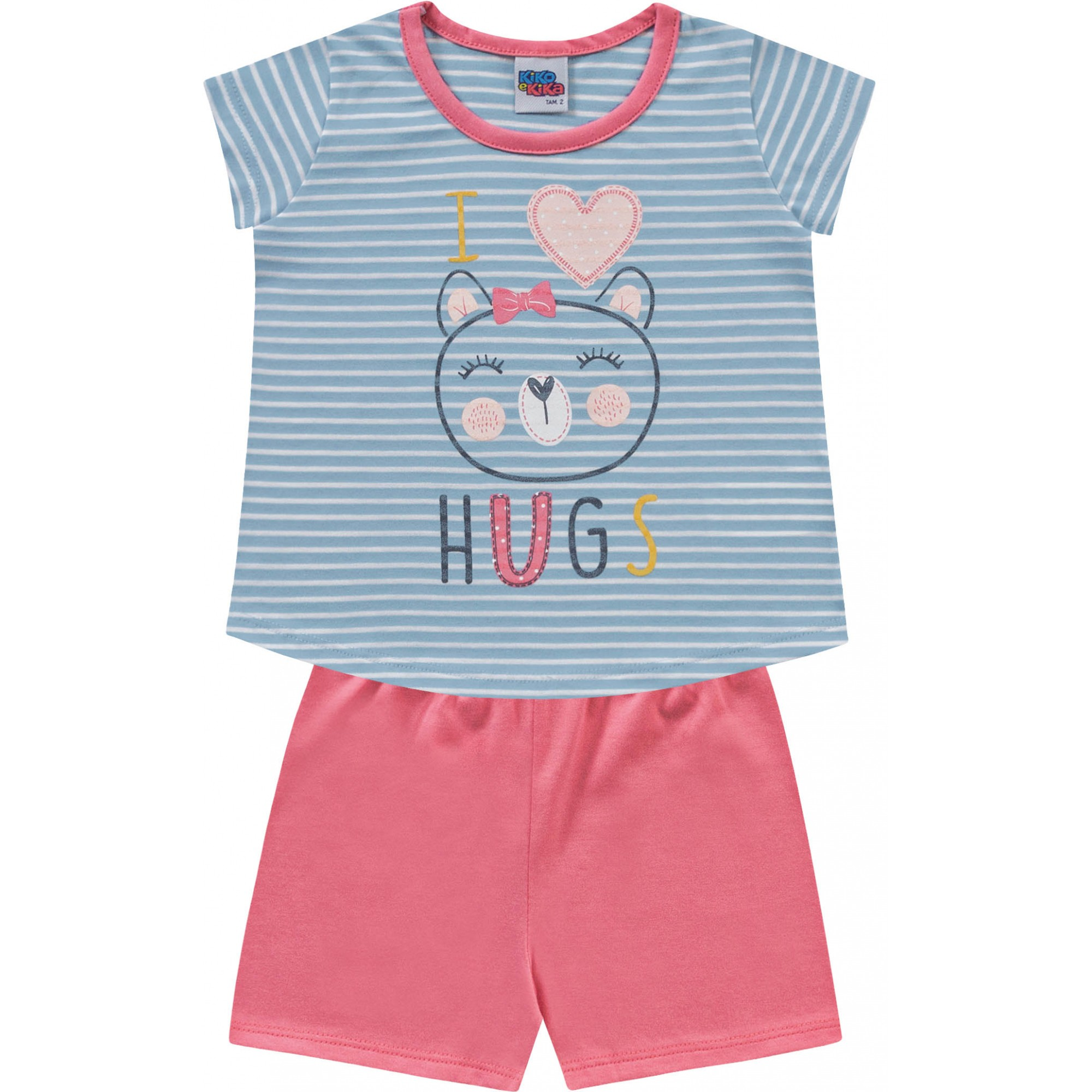 Pijama Hugs Azul Kiko e Kika