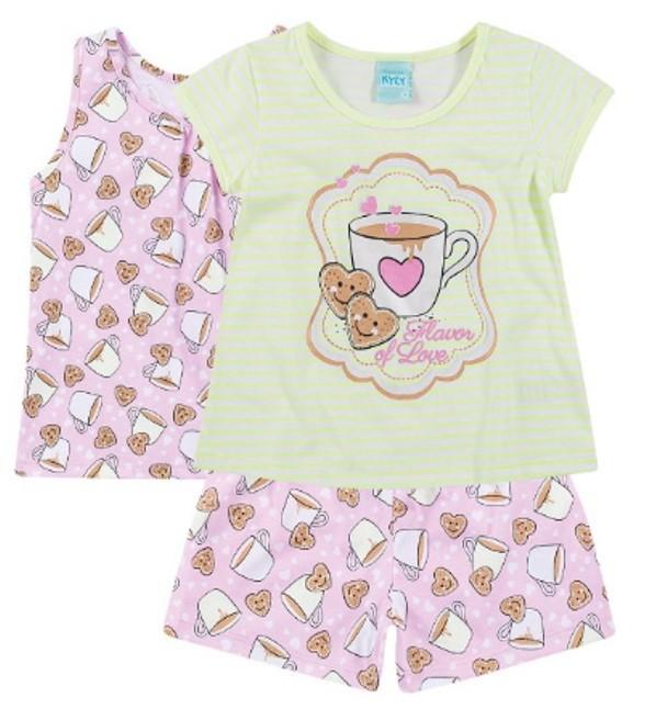 Pijama Kyly 3 peças Brilha no Escuro Bolachas