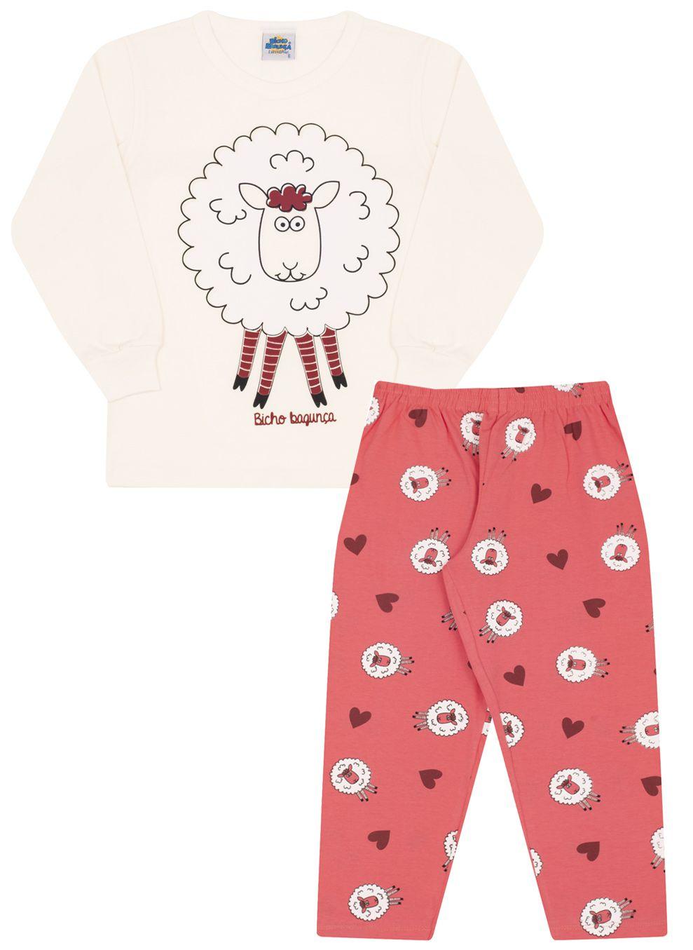 Pijama Ovelhinha Creme Bicho Bagunça