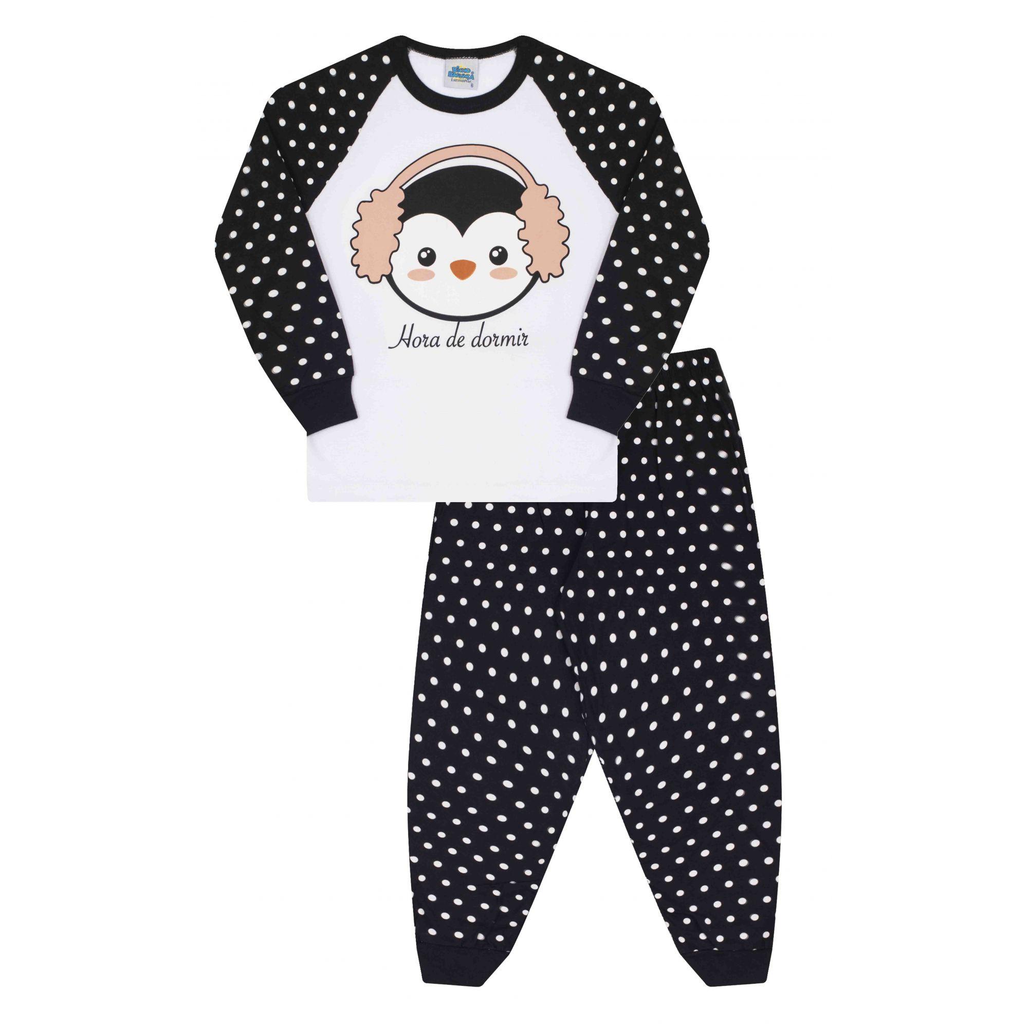 Pijama Pinguim Bicho Bagunça Branco