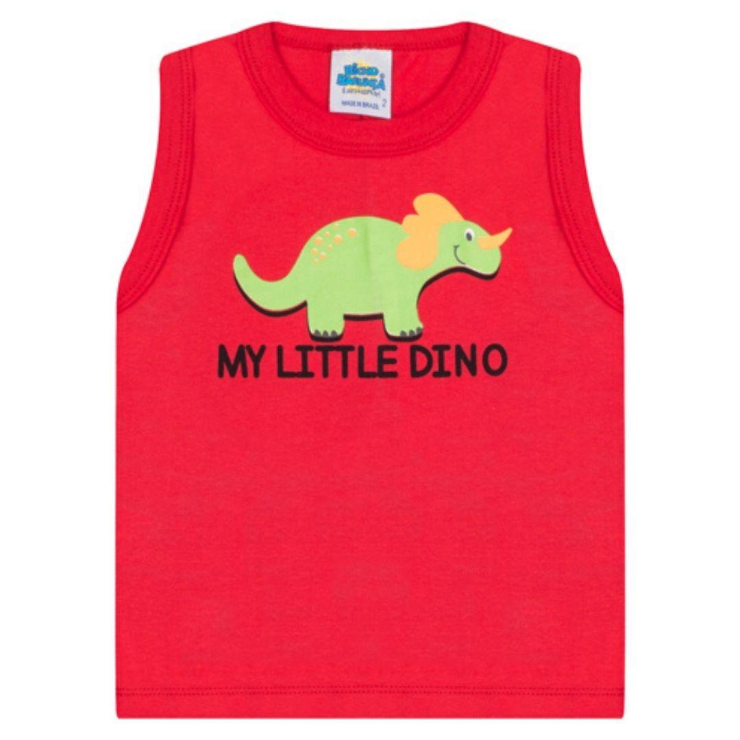 Regata Little Dino Bicho Bagunça Vermelho