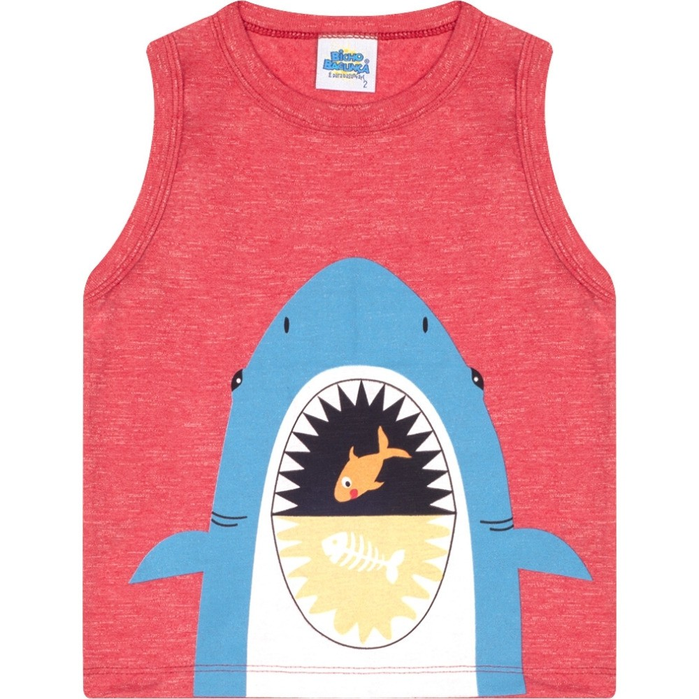 Regata Tubarão Vermelho Bicho Bagunça