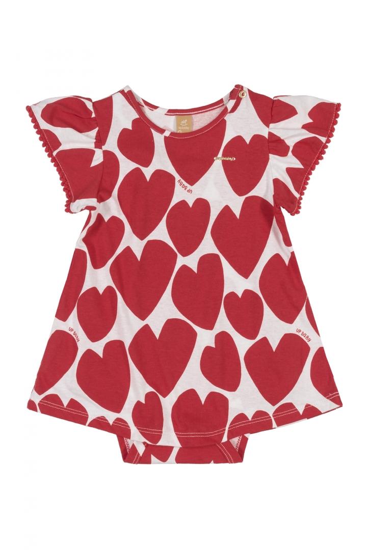 Vestido com Body Coração Vermelho Up Baby